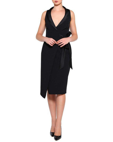 Sleeveless Tuxedo Wrap Dress-Jezzelle