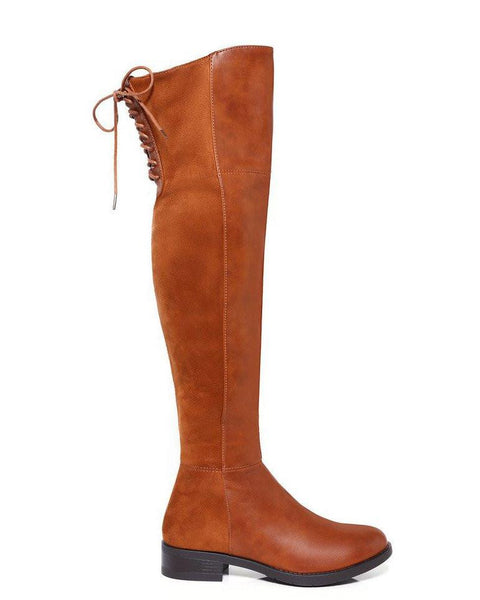 Camel Suede Over-the-Knee Boots - Jezzelle