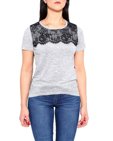 Eyelash Lace Detail Sheer Back  T-shirt - Jezzelle
