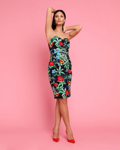 Tropical Print Bandeau Midi Dress - Jezzelle