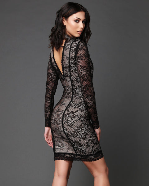 V-Neck & V-back Hand-made Lace Bodycon Dress - Jezzelle