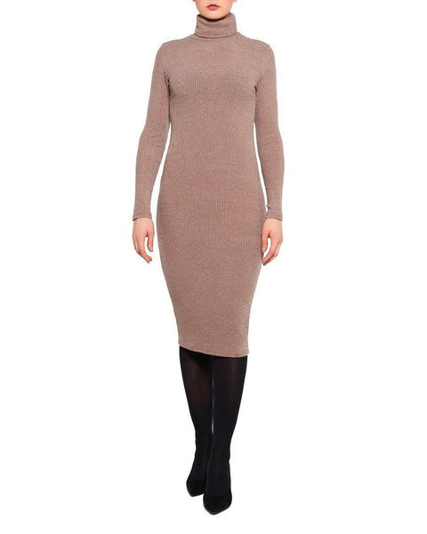 Turtle Neck Knitted Midi Dress - Jezzelle