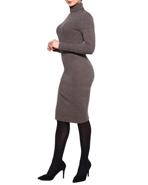 Turtle Neck Knitted Midi Dress-Jezzelle