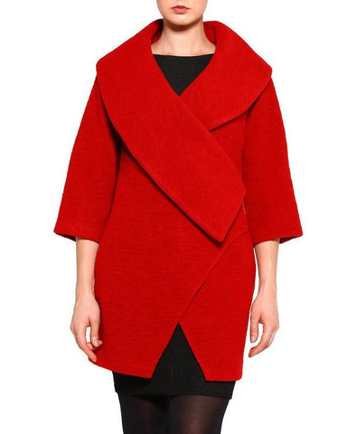 Large Collar Red Boucle Overcoat - Jezzelle