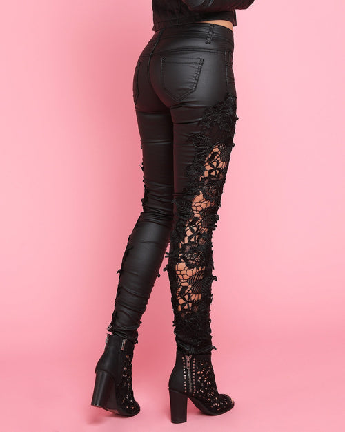Faux Leather & Lace Trousers - jezzelle  - 5
