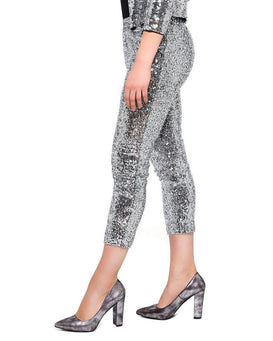Sequin Cropped Trousers-Jezzelle