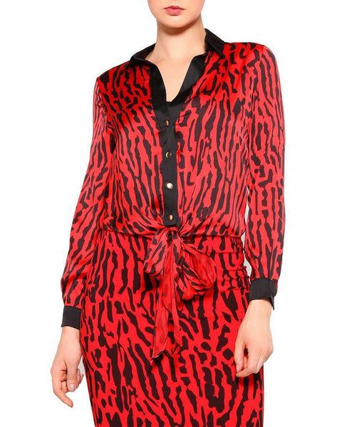 Red Leopard Print Satin Top - Jezzelle