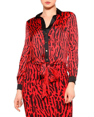 Red Leopard Print Satin Top-Jezzelle