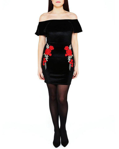Bardot Embroidered Velvet Dress-Jezzelle