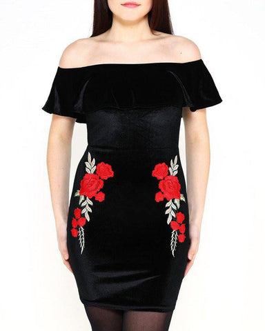 Bardot Embroidered Velvet Dress - Jezzelle