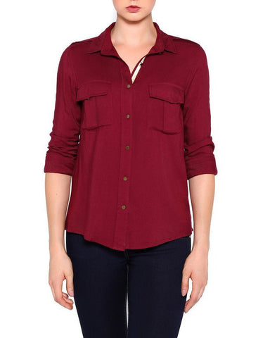 Burgundy Cotton Shirt - Jezzelle