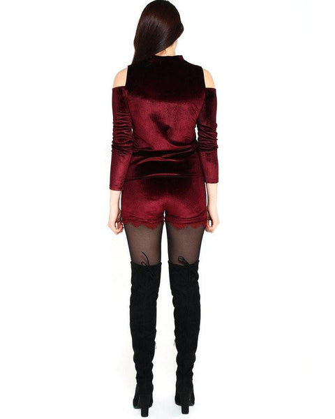 Burgundy Velvet Co-ord Set - Jezzelle