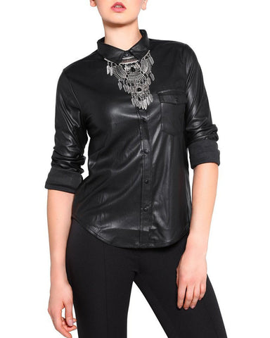 Faux Leather Shirt - Jezzelle
