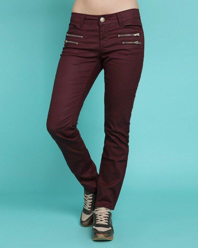 Golden Zips Burgundy Trousers-Jezzelle