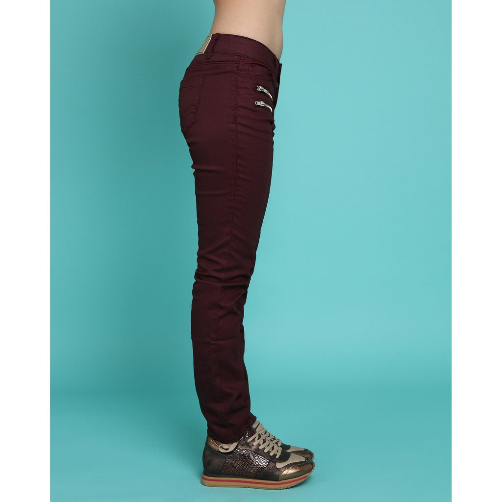 Golden Zips Burgundy Trousers - Jezzelle