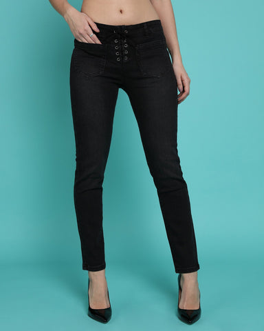 Lace Up Front Charcoal Skinny Jeans - Jezzelle