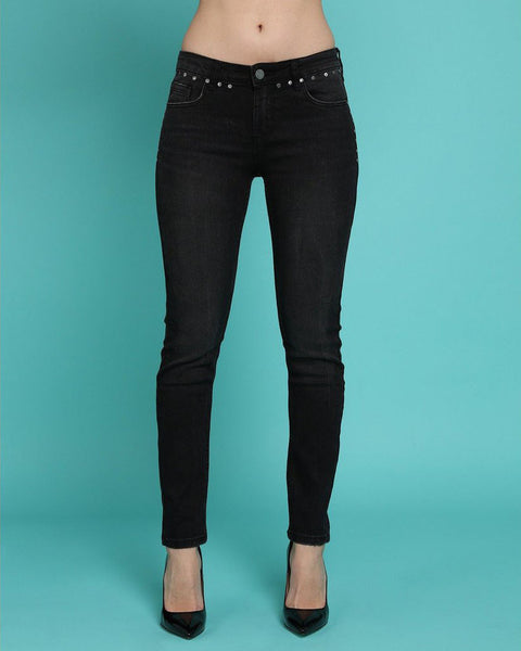 Studded Details Charcoal Skinny Jeans-Jezzelle