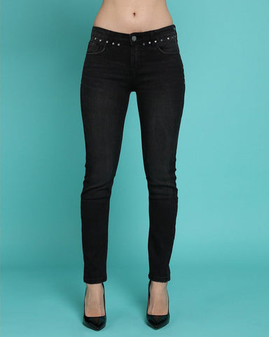 Studded Details Charcoal Skinny Jeans - Jezzelle