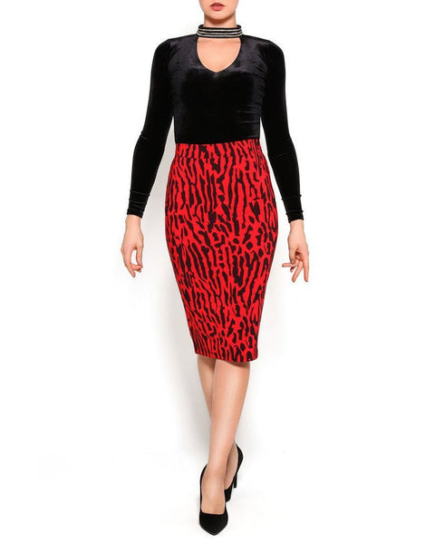 Red Leopard Print Bodycon Midi Skirt - Jezzelle