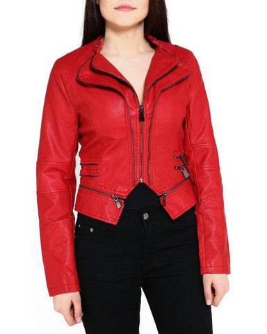Double Collar Red Faux Leather Jacket - Jezzelle