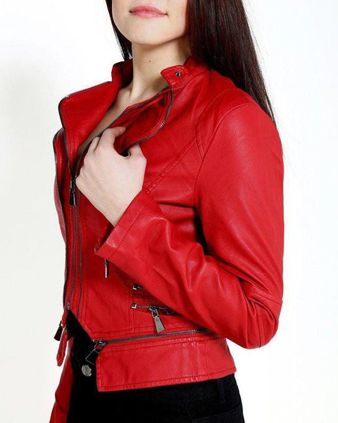 Double Collar Red Faux Leather Jacket-Jezzelle