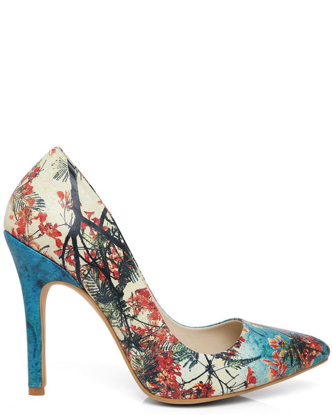 Blossom Print Leather Pumps-Jezzelle