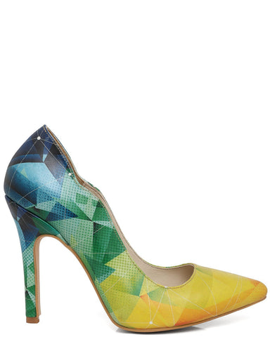 Cubic Print Leather Pumps