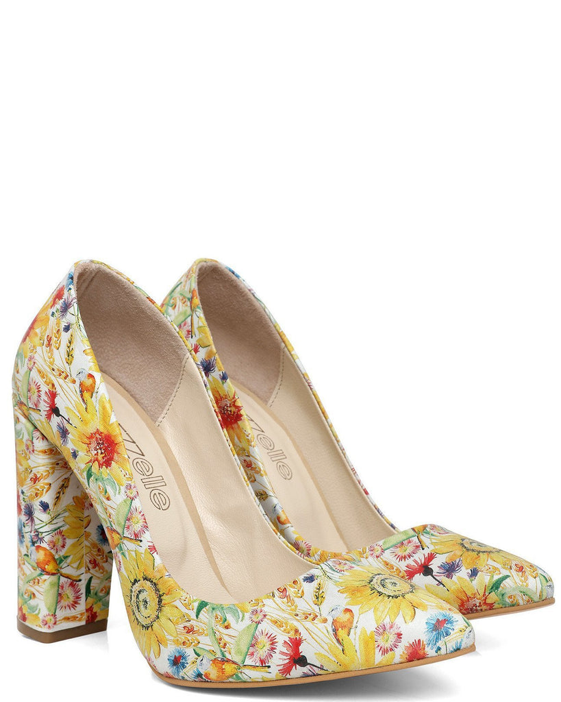 Spring Print Block Heel Leather Pumps - jezzelle  - 2