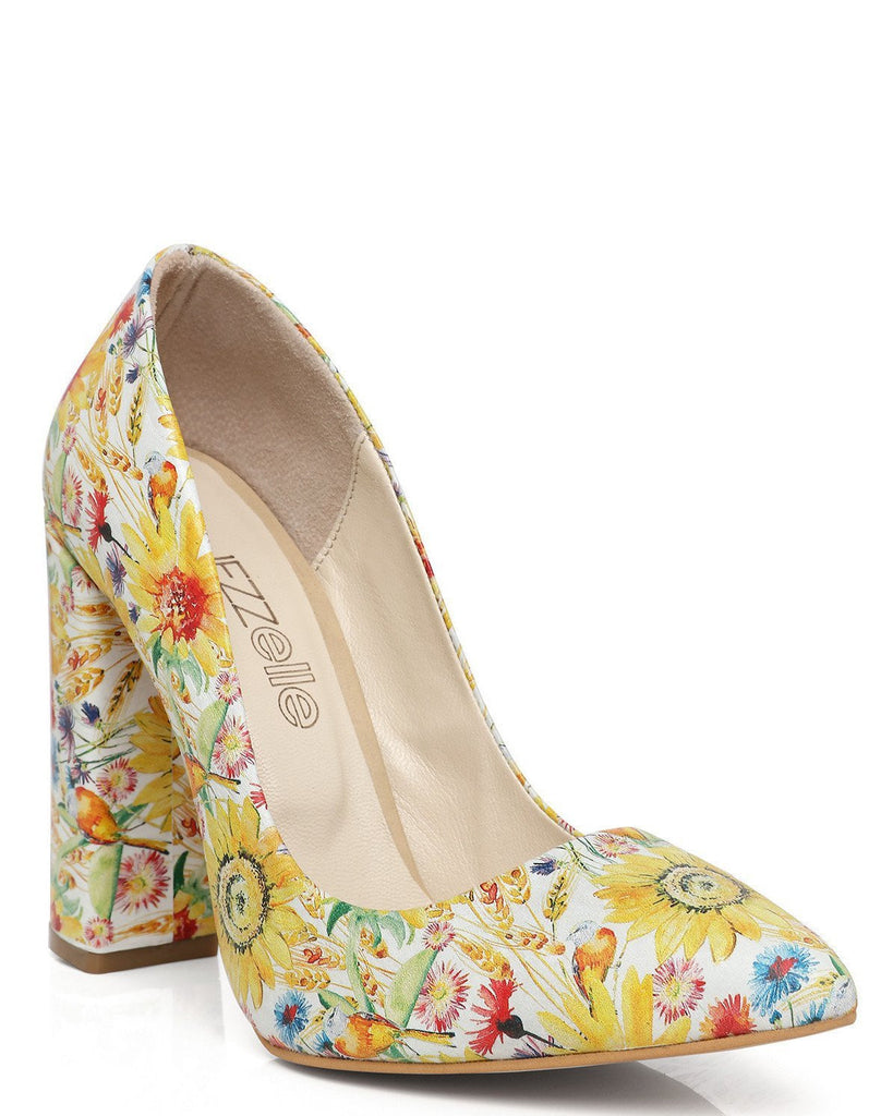Spring Print Block Heel Leather Pumps - jezzelle  - 3