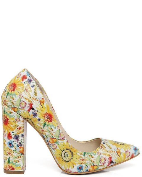 Spring Print Block Heel Leather Pumps - Jezzelle