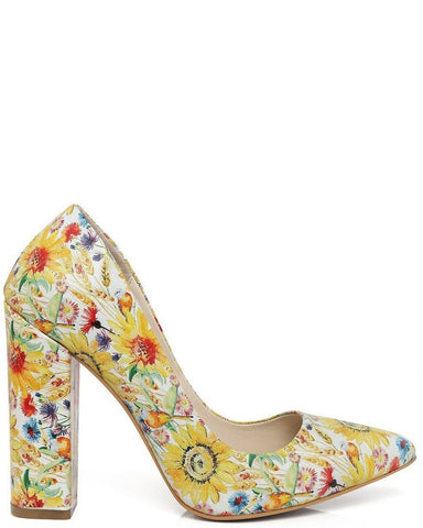 Spring Print Block Heel Leather Pumps-Jezzelle