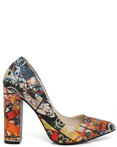 Block Heel Picasso Print Leather Pumps
