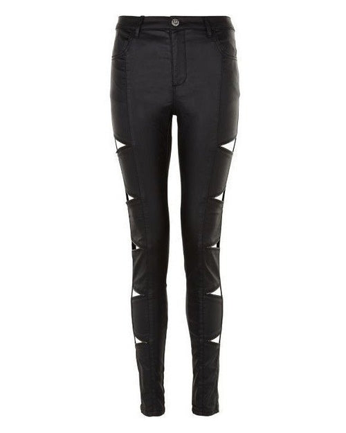 Faux Leather Triangle Zip Cut Out Biker Jeans-Jezzelle