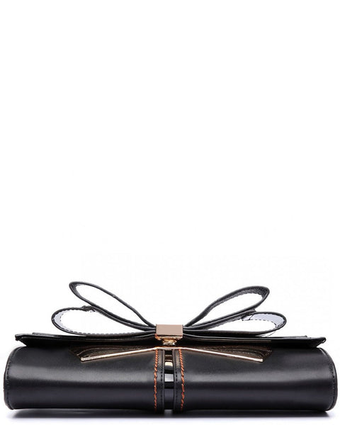Bow Clutch Black Shoulder Bag-Jezzelle