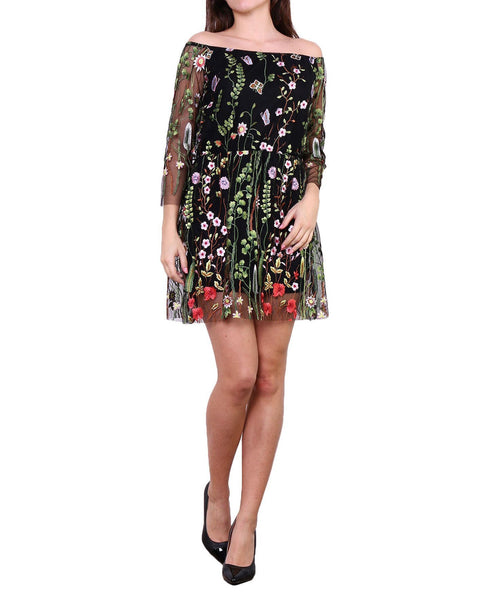 Embroidered Flower Mini Dress - Jezzelle