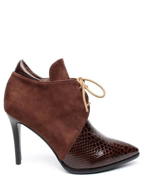 Croc Effect Faux Suede Brown Ankle Boots - Jezzelle
