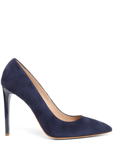 Navy Suede Leather Pumps - Jezzelle