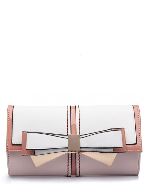 Bow Clutch Pink Shoulder Bag - Jezzelle
