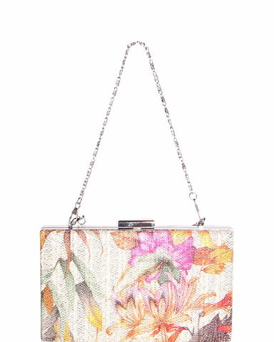 Beige Floral Print Evening Shoulder Bag