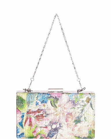 Green Floral Print Evening Shoulder Bag