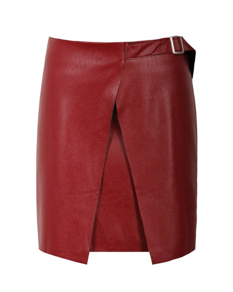 Leather Look Cross Over Skirt-Jezzelle