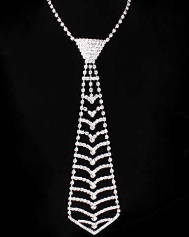 Rhinestone Necktie Necklace