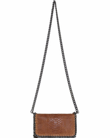 Genuine Leather Camel Shoulder Bag - Jezzelle