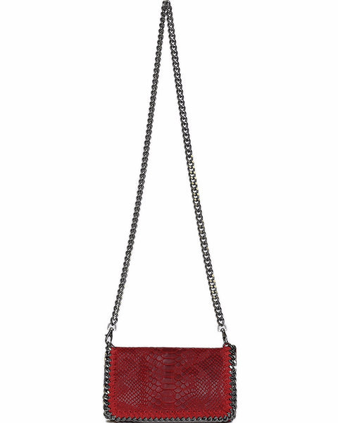 Genuine Leather Red Shoulder Bag - Jezzelle