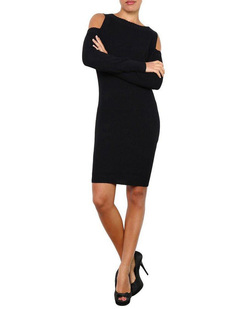 Cold Shoulder Knitted Midi Dress-Jezzelle