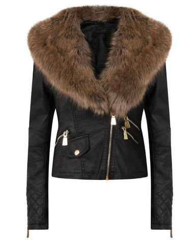 Detachable Faux Fur Collar Biker Jacket - Jezzelle
