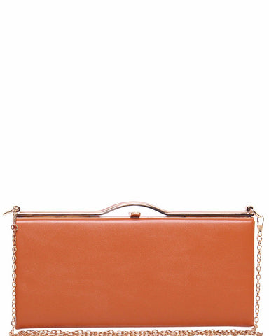Brown Faux Leather Smart Clutch