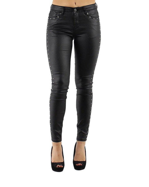 Eyelets Faux Leather Trousers - jezzelle  - 5