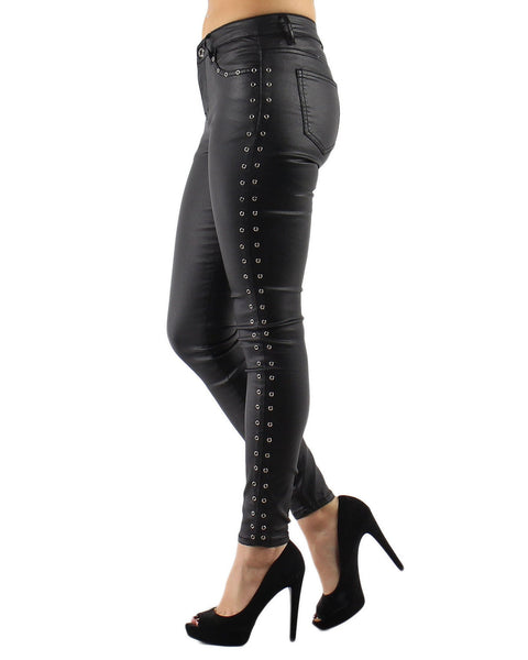 Eyelets Faux Leather Trousers - jezzelle  - 6