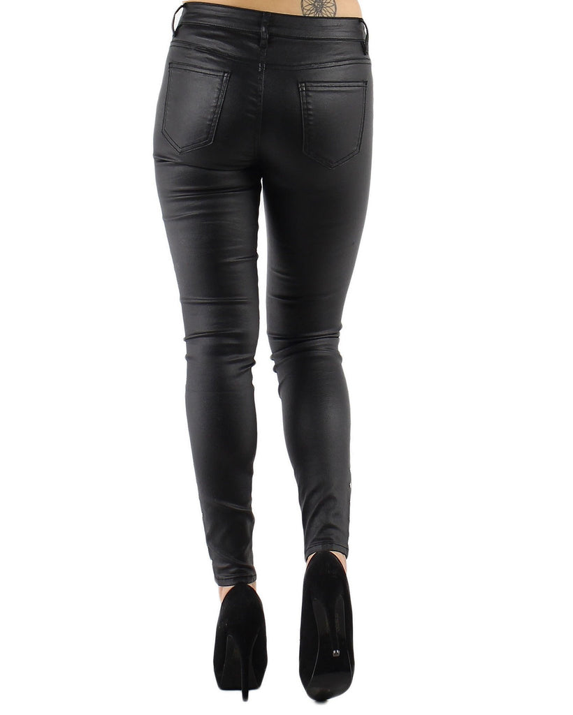 Eyelets Faux Leather Trousers - jezzelle  - 7